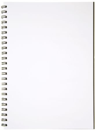 Blank Spiral Notepad isolated on White. Ready for your message. photo