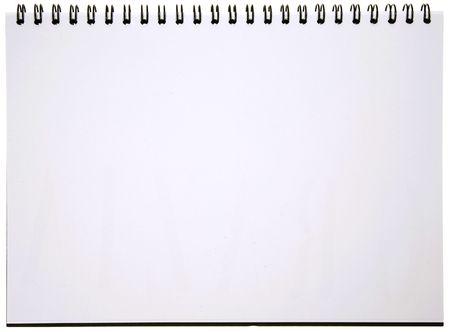 raton: Bloc de notas en blanco en espiral aisladas en blanco. Preparado para su mensaje.