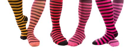Colorful Zebra Foots. Different types of women sport socks. photo