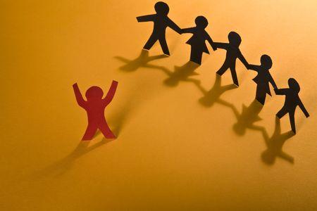 Leadership. Teamwork on orange series. photo