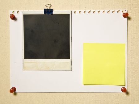 Notepad Page With Camera Frame And Note On Textile Background