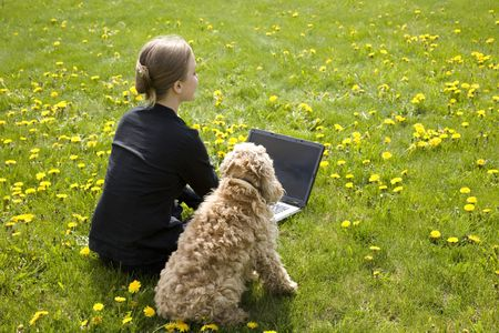 Woman And Dog On The Grass Stock Photo - 3094155