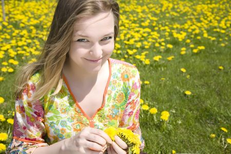 Hippie. Young Woman On The Meadow. photo