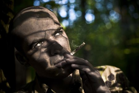 Smoke Concept. Men Smoking Outdoors. Stock Photo - 3120650