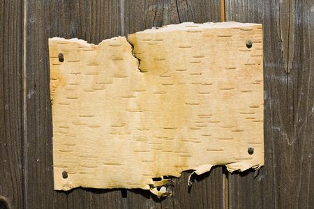 Blank Bark On Wooden Background. Ready For Your Message. Stock Photo - 3159790
