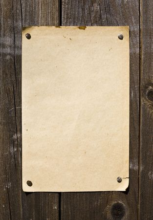 antique nails: Old Style Retro Paper On Wooden Wall. Ready For Your Message.
