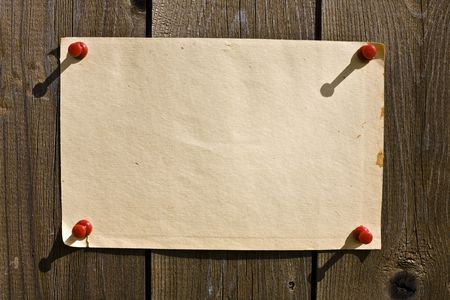 Old Paper On Wooden Wall. Ready for your message. Stock Photo - 3159792