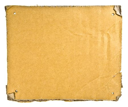 Torn Cardboard Isolated on White. Ready for your message. photo