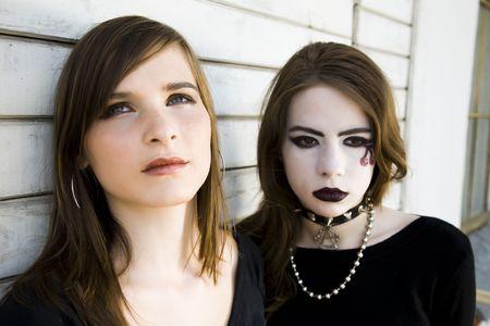 Contrast Girls. Two Modern Teenagers. photo