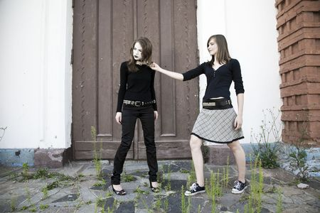 fetish wear: Teen Games. Two Teenager Girls Against Old Building.