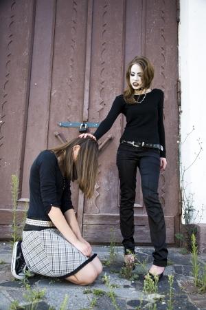 The Young Girl Is Kneeling photo