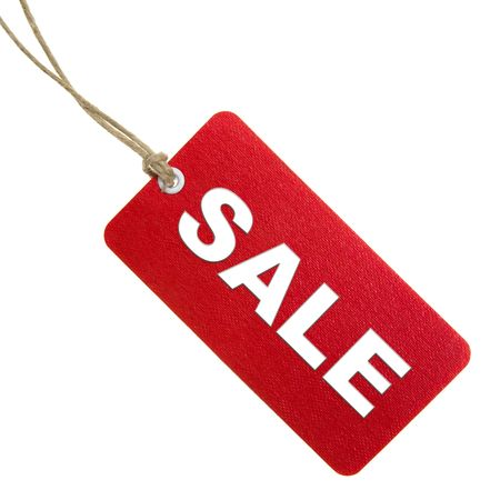 Red Sale Tag Isolated On White photo