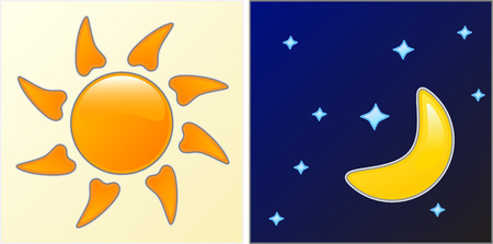 Day and Night. Easy to edit vector. Vector