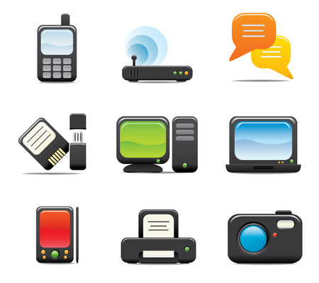printers: Electronic Computer Icon Set One. Easy to edit vector image.