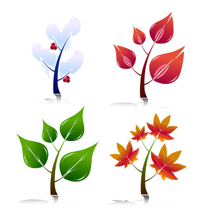 Four Season Style Trees. Easy To Edit Vector. Illustration