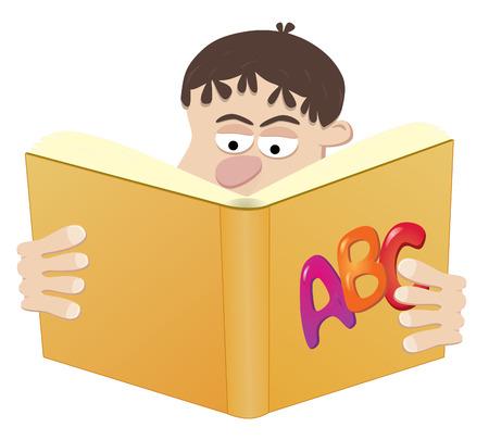 Schoolboy Reading Book. Easy To Edit Vector Image. Vector