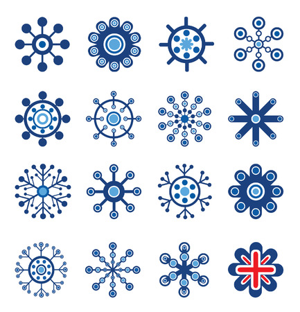 Retro Style Snowflakes Set. Easy To Edit Vector Image. Vector