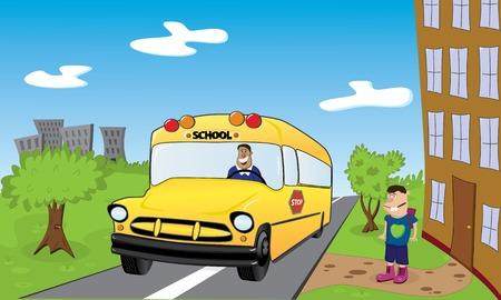 autoscuola: Torna a scuola. Immagine vettoriale.