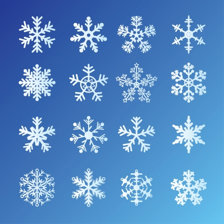 16 Snowflakes Set On Blue Background. Easy to edit vector. Vector