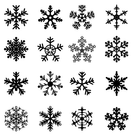 16 Black and White Snowflakes Set. Easy to edit vector. Illustration