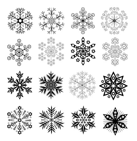 16: Set Of 16 Vector Black and White Snowflakes