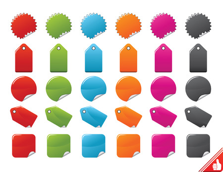 Color Stickers Set. Easy To Edit Vector. Stock Vector - 3673636
