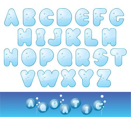 Vector Aqua Font. Easy To Edit Unique Font. Vector
