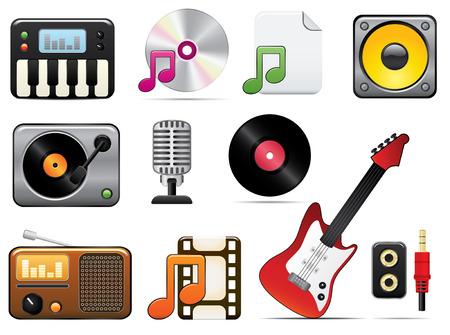 Icono de la música de un conjunto. Fácil de editar los vectores de imagen.