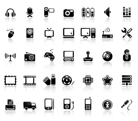 Video And Audio Vector Black Icon Set Vector