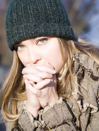 wirtschaftskrise: Pretty Girl mit Green Eyes. Internationale Wirtschafts-Krise Serie. Lizenzfreie Bilder