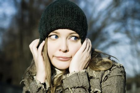 The Scared Young Woman Portrait Stock Photo - 3868613
