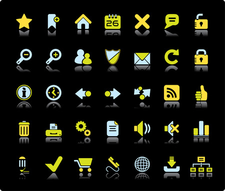 Web Vector Icon Set On Black Background Vector