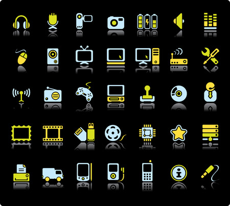 Web Vector Icon Set On Black Background. Audio And Video Symbols.