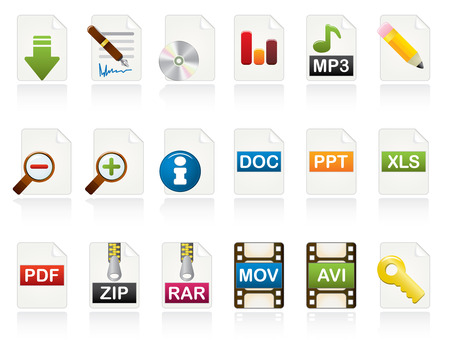 Document Icon Set. Color Vector Icons Series. Vector