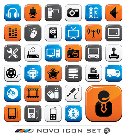 Video Audio And Computer Icon Buttons Set. Novo Series. Vector