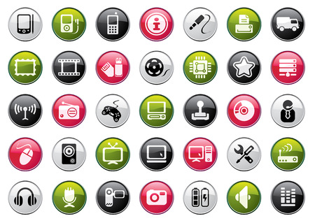 mobilhome: Boutons Web Icon Collection. Audio et Video Color Set.
