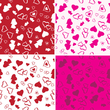 Vector Seamless Love Background Set. Seamless Backgrounds Series. Vector