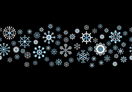 Vector Seamless Snowflakes Background. Winter Snow Background Series. Vector