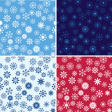 Snow Seamless Vector Background Set. Seamless Backgrounds Series. Vector
