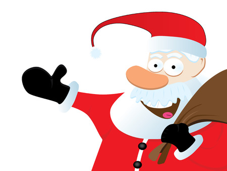Happy Vector Santa Claus On White Background. Christmas Series. Vector