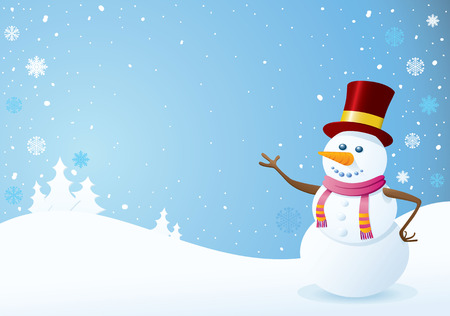 Snowman on Christmas Background. Christmas Backgrounds Series. Vector