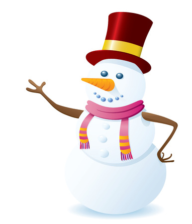 Happy Vector Snowman On White Background. Christmas Series. Vector
