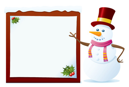 Snowman Pointing On The Blank Board. Christmas Series. Stock Vector - 4001547