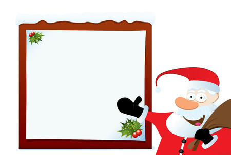 Santa Claus Pointing On Blank Board. Christmas Series. Vector