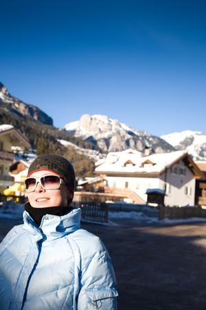 Pretty Woman In Italian Alps Resort. Winter Travel Series. photo