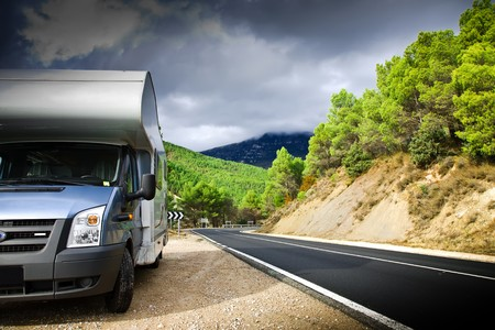 Motor Home On The Road. Pyrenees. Spain. Stock Photo