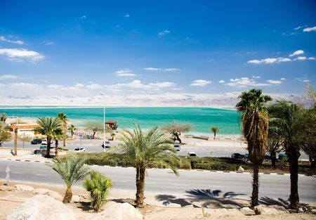 Road, Sea, Mountains And Palm Trees. Dead Sea. Israel photo