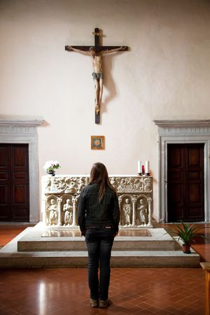 Young Woman In One Of Italian Church. Old Italy Series.