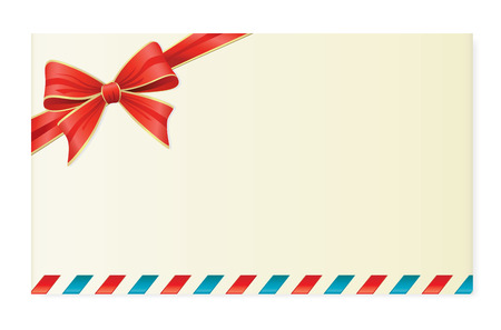 Letter With Red Bow. Vector Decoration Series. Vector