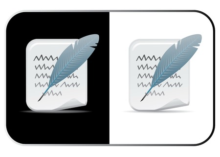 Feather and Paper Vector Icon Set. Lumi Series. Stock Vector - 4764439